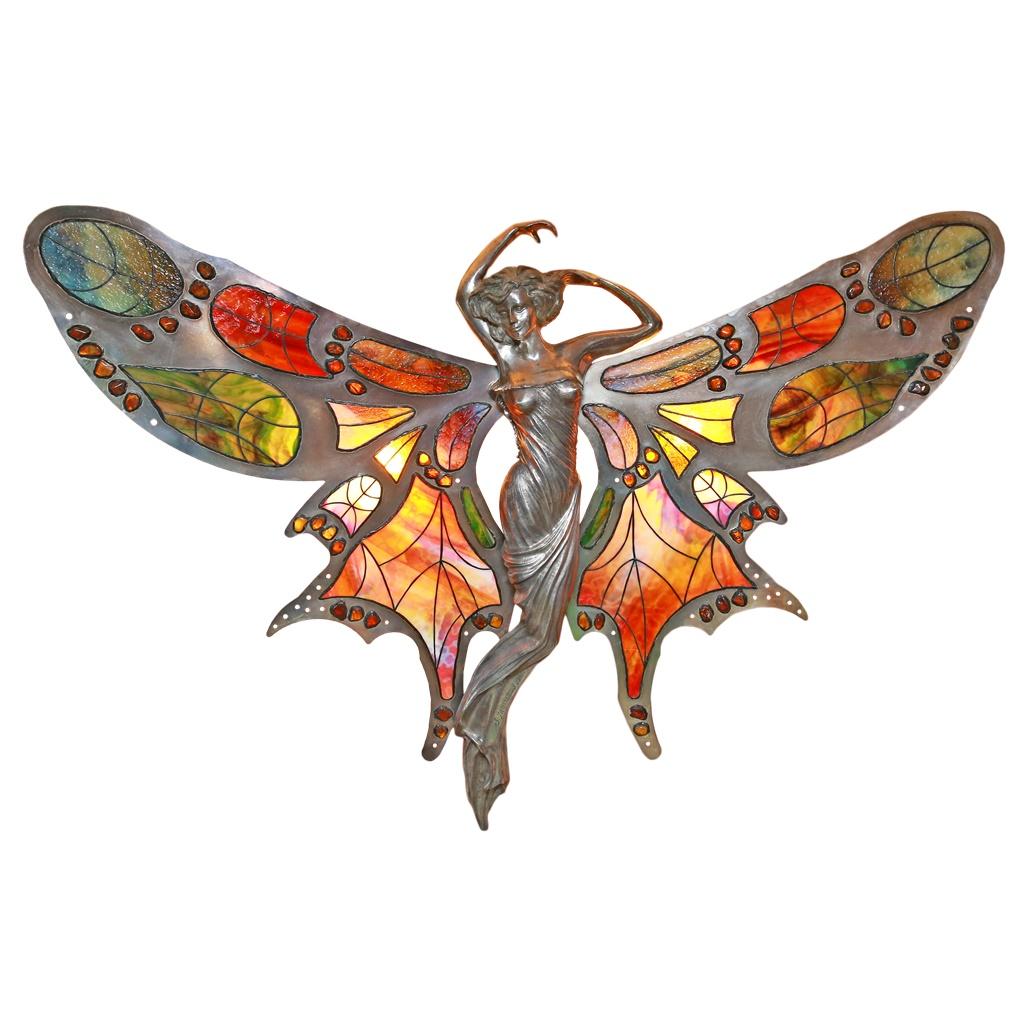 """Kinkiet witrażowy """"Duży Motyl"""" Autorskie Dzieło Sztuki"""