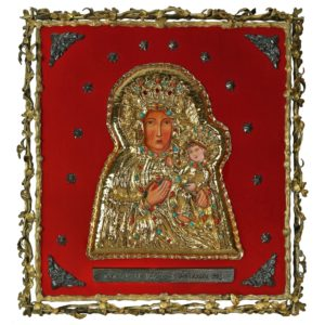 Matka Boska Częstochowska, koszulka złoconona wysadzana kamieniami szlachetnymi