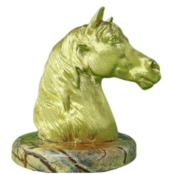 """Rzeźba """"Głowa Konia"""" z mosiądzu"""