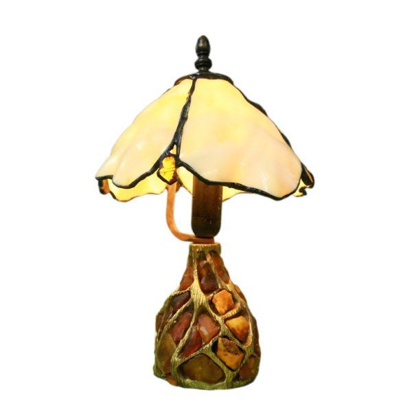 Autorska lampa witrażowa Skalny Fiołek z bursztynem, spectrum miodowy