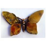 Bursztynowy motyl z mosiądzu Autorska broszka