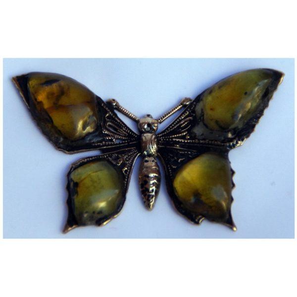 Motyl bursztynowy z mosiądzu - Autorska broszka ze srebrną zapinką