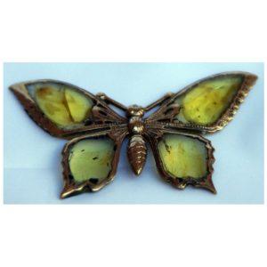 Broszka z bursztynu bałtyckiego - Autorski Motyl