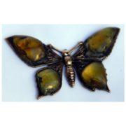 Motyl bursztynowy z mosiądzu i bursztynu bałtyckiego