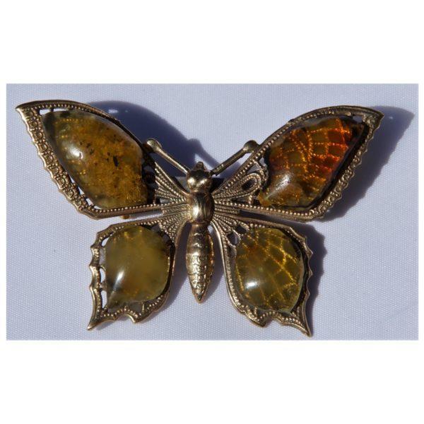 Bursztynowy motyl z mosiądzu - Autorska broszka