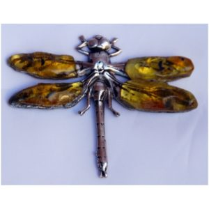 Srebrna Ważka - Autorska broszka z Bursztynem Bałtyckim