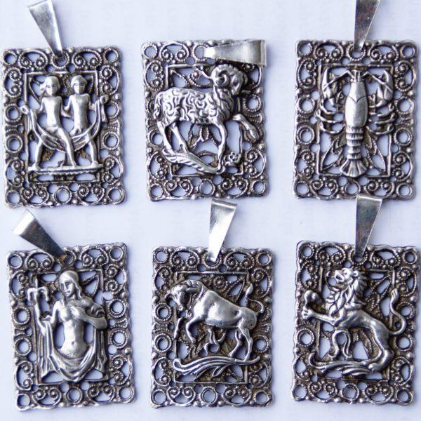 Znaki zodiaku ze srebra, unikatowy wzór 7g.